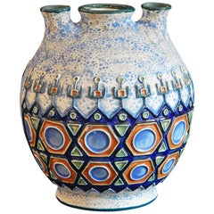 Secessionist/Art Deco Vase by Amphora with Three Openings, Blue and White