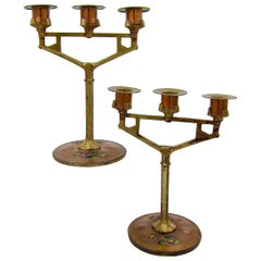 Secessionist Candle Holder Pair in Copper and Brass with Enamel