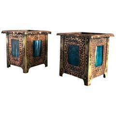 Secessionist Hammered Copper Planters Pair with Period Tifany Glass, Vienna 1900