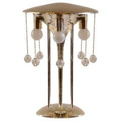 Secessionist J. Hoffmann&Wiener Werkstätte Silvered Brass Table Lamp Re-Edition