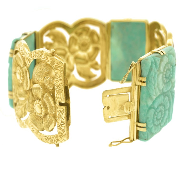 Secessionist Jade and Gold Bracelet For Sale 6