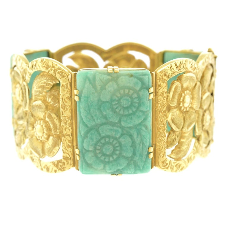 Cabochon Secessionist Jade and Gold Bracelet For Sale