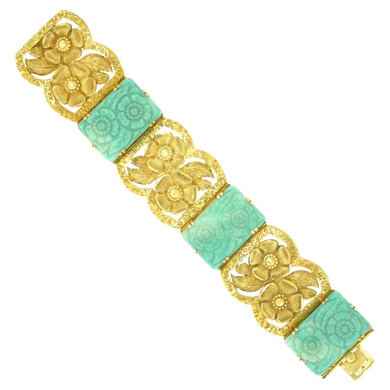 Secessionist Jade and Gold Bracelet For Sale