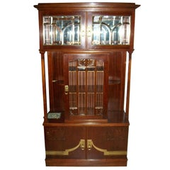 Secessionist Mahogany Display Cabinet with Carved Decoration Beveled Glass Doors