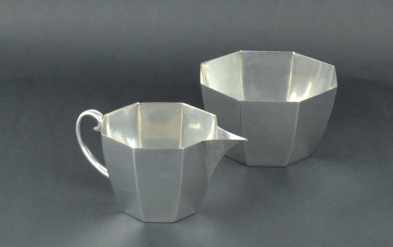 Very smart silver plated milk and sugar or strawberry's and cream  Makers mark of WMF on the bases.
