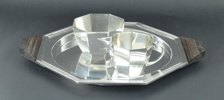Art Deco Secessionist Style Silver Plated Milk and Sugar by WMF, German, circa 1900 For Sale