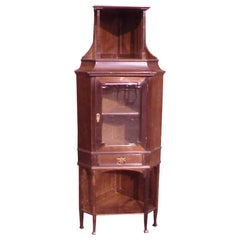 Secessionist Style Walnut Corner Display Cabinet with Stylized brass Handles