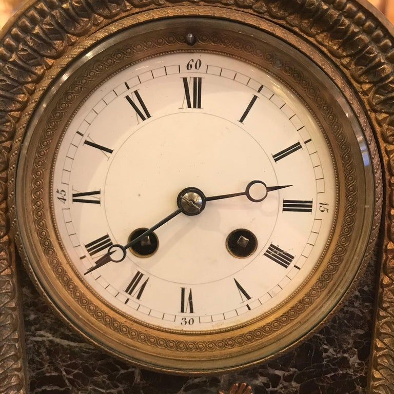 Empire Revival Second Empire Bronze and Marble Mantel Clock For Sale