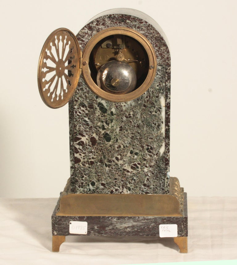 French Second Empire Bronze and Marble Mantel Clock For Sale