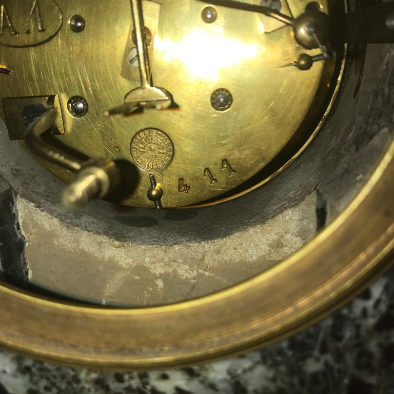 Hand-Carved Second Empire Bronze and Marble Mantel Clock For Sale