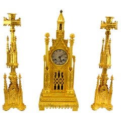 Second Empire Gothic Cathedral Clock and Garniture