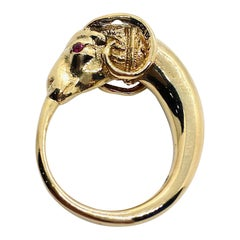 Second Etruscan Revival Figural Ram Ring in 18 Karat Yellow Gold with Ruby Eyes