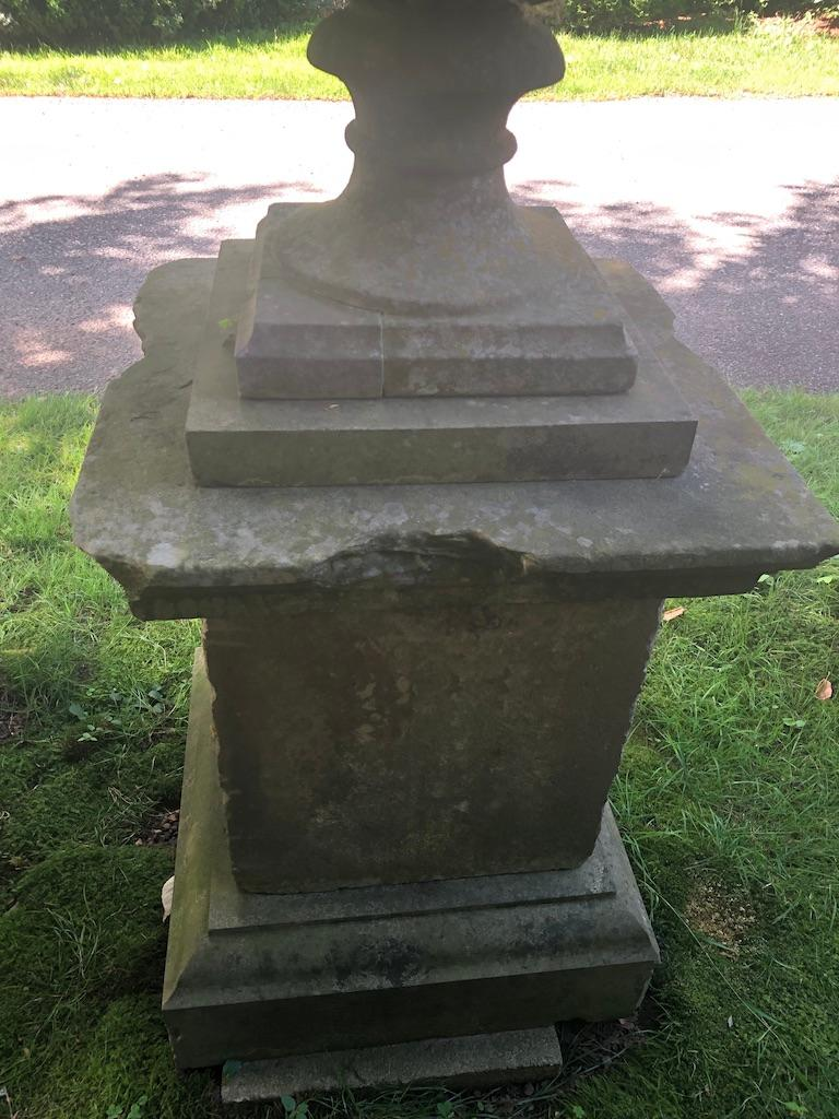 Second Grand Pair of Carved Yorkstone Urns Owned by the Duke of Marlborough For Sale 2