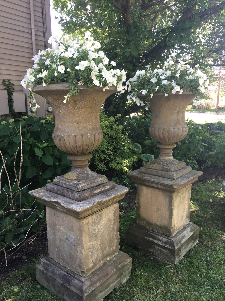 English Second Grand Pair of Carved Yorkstone Urns Owned by the Duke of Marlborough For Sale