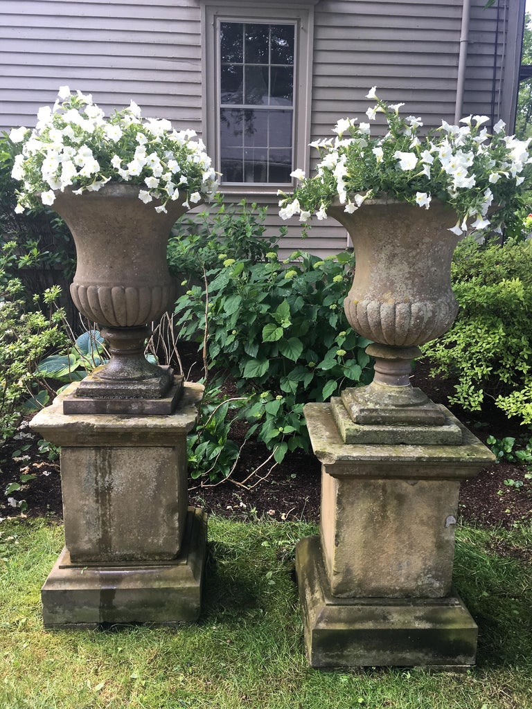 Hand-Carved Second Grand Pair of Carved Yorkstone Urns Owned by the Duke of Marlborough For Sale