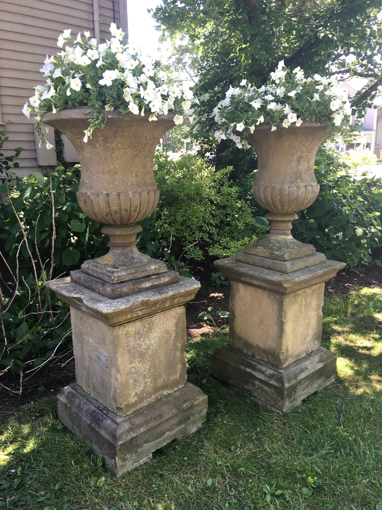 Second Grand Pair of Carved Yorkstone Urns Owned by the Duke of Marlborough In Good Condition For Sale In Woodbury, CT