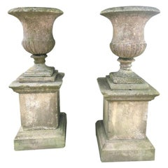 Second Grand Pair of Carved Yorkstone Urns Owned by the Duke of Marlborough