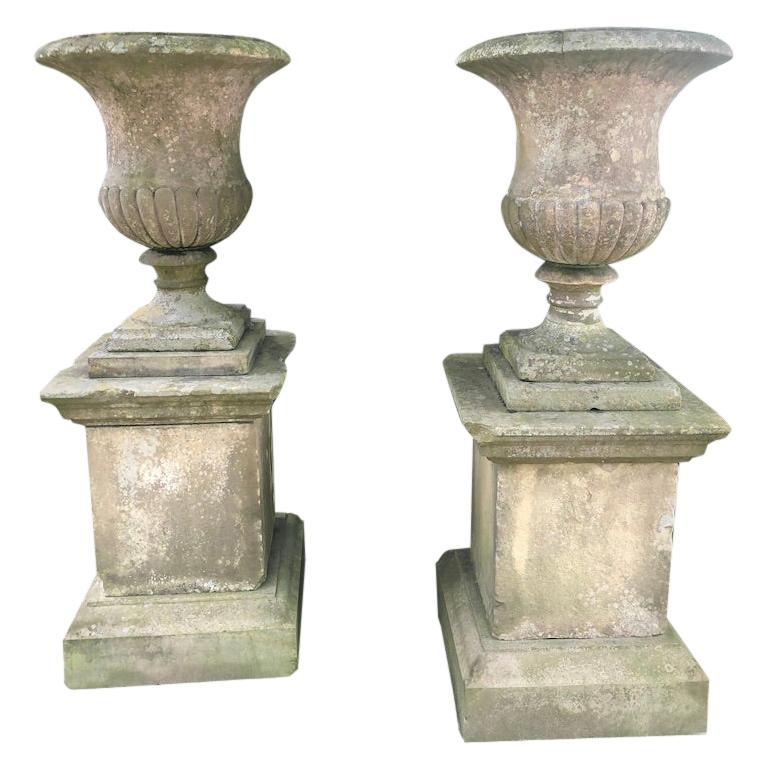 Second Grand Pair of Carved Yorkstone Urns Owned by the Duke of Marlborough For Sale