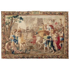 Second Half 17th Cent. Brussels Tapestry of Marc Antony and Cleopatra, Wool&Silk