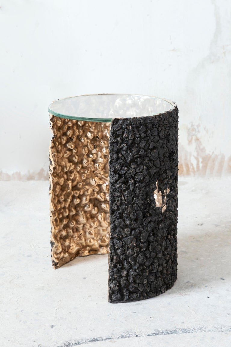 Secondo Fuoco is an investigation into slags, a solidified foamy mass thrown off that emerges on the surface of molten metal. We wondered about the multiple souls of matter, its mineral origin, re-obtained by smelting processes and its artificiality