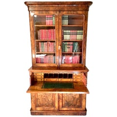 Secretaire Bookcase in English Walnut, circa 1870