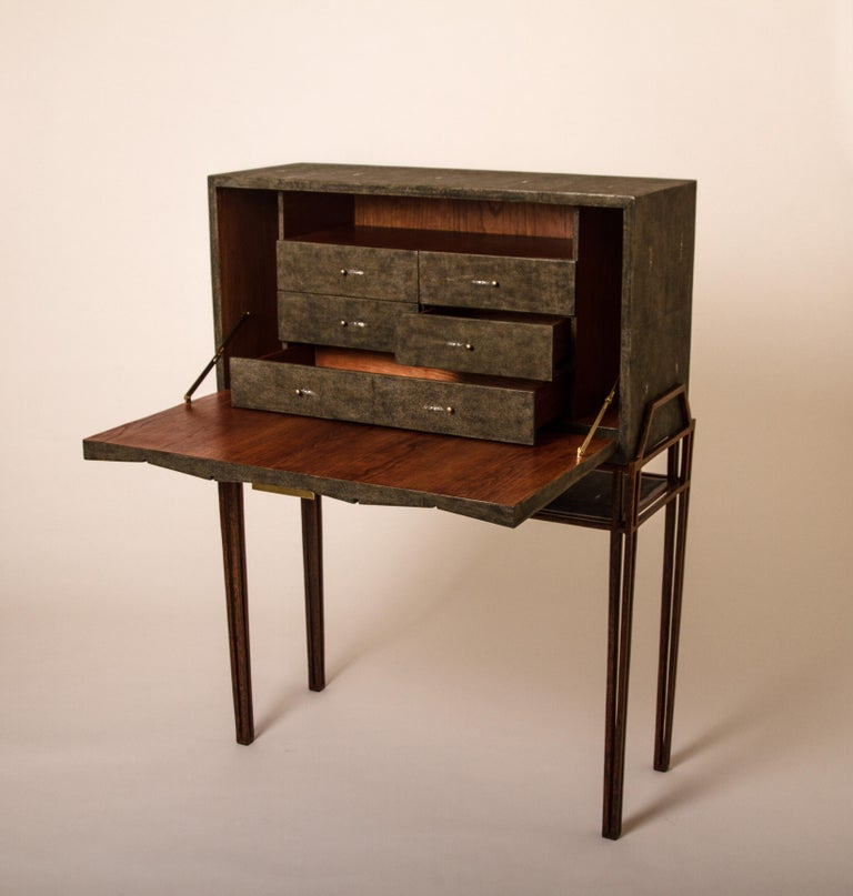 Art Deco Secrétaire Desk in Black Shagreen and Palmwood by R&Y Augousti For Sale