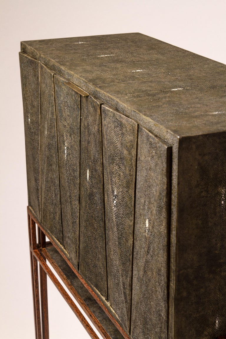 French Secrétaire Desk in Black Shagreen and Palmwood by R&Y Augousti For Sale