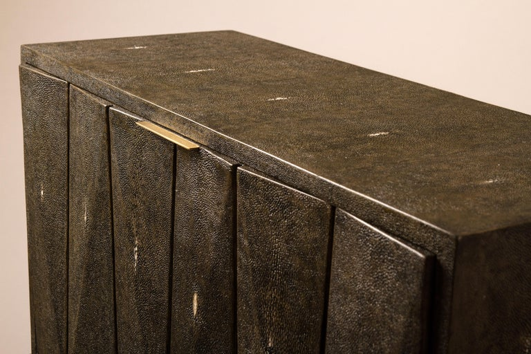 Hand-Crafted Secrétaire Desk in Black Shagreen and Palmwood by R&Y Augousti For Sale