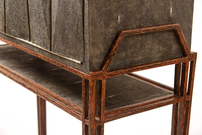 Secrétaire Desk in Black Shagreen and Palmwood by R&Y Augousti In New Condition For Sale In New York, NY