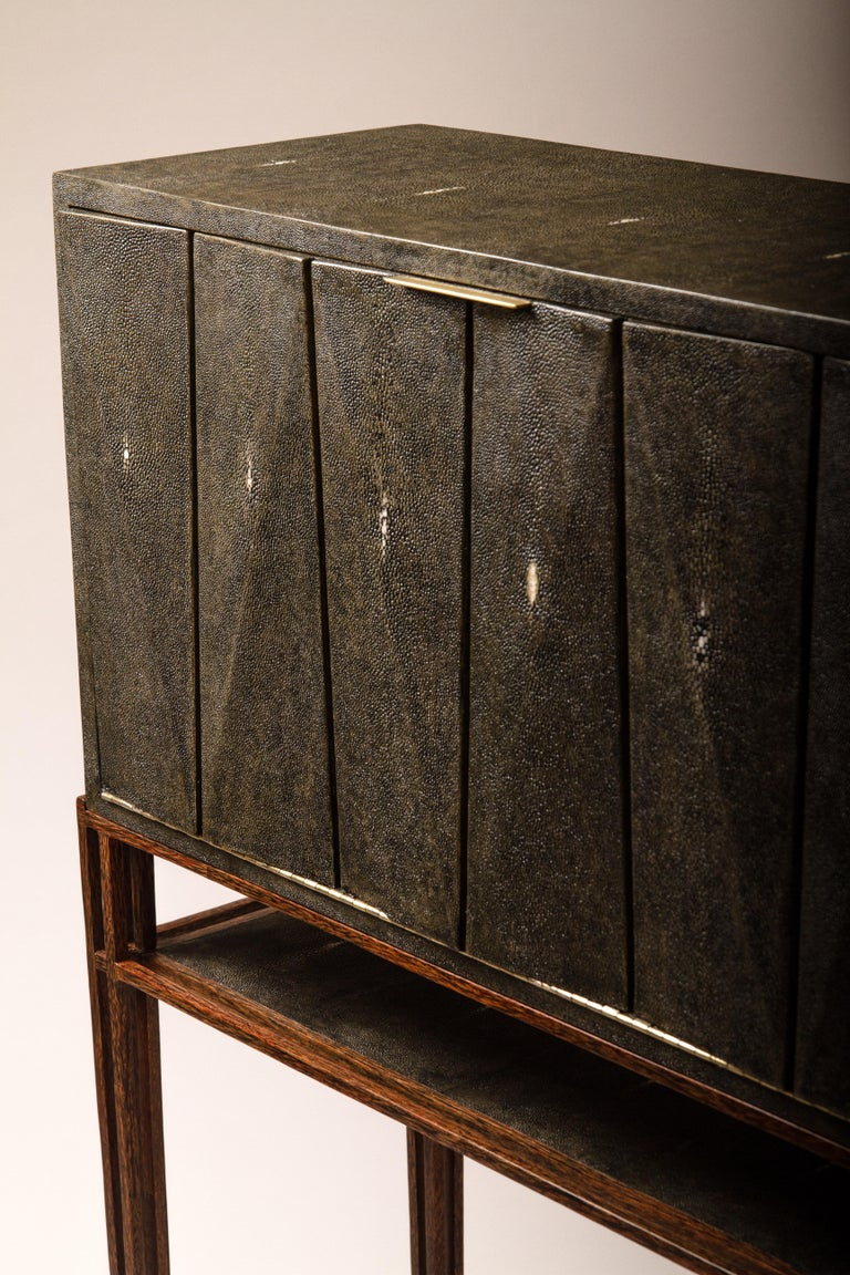 Contemporary Secrétaire Desk in Black Shagreen and Palmwood by R&Y Augousti For Sale
