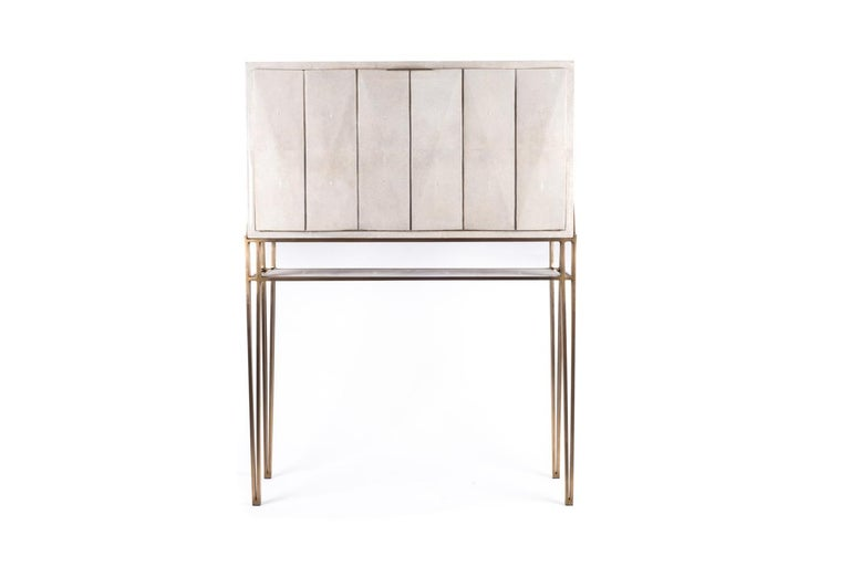 Secrétaire Desk in Black Shagreen and Palmwood by R&Y Augousti For Sale 1