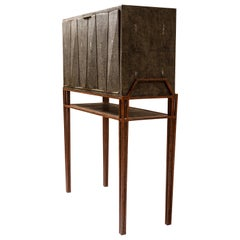 Secrétaire Desk in Black Shagreen and Palmwood by R&Y Augousti