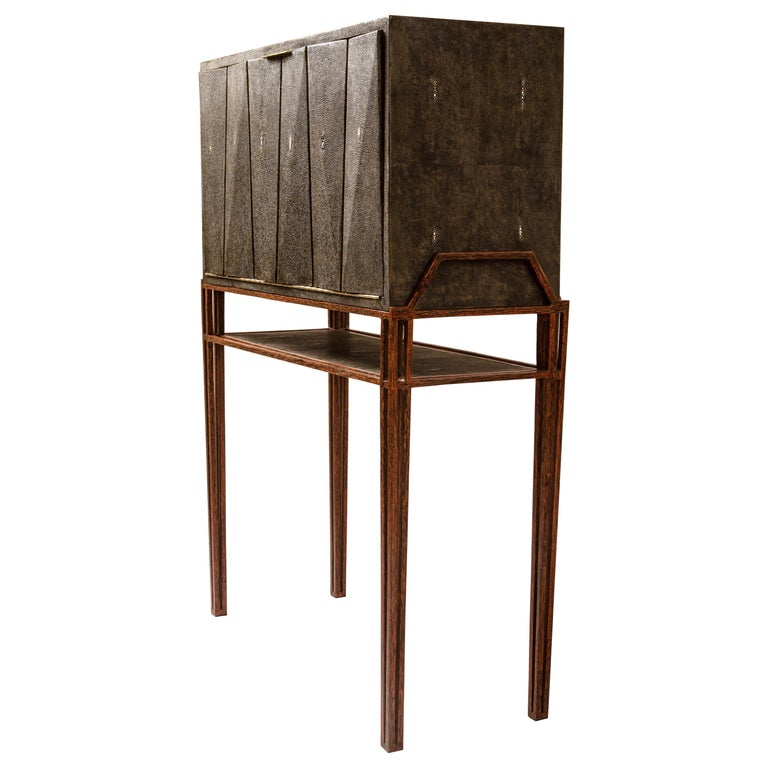 Secrétaire Desk in Black Shagreen and Palmwood by R&Y Augousti For Sale