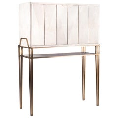Secrétaire Desk in Cream Shagreen and Bronze-Patina Brass by R&Y Augousti