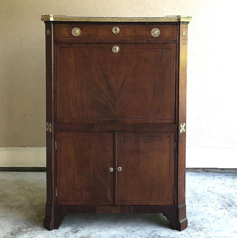Late 19th Century Secretary, 19th Century French Louis XVI with Inlaid Mahogany For Sale