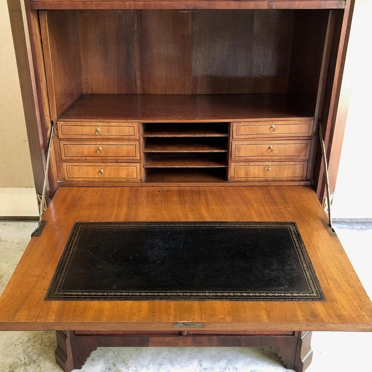 Brass Secretary, 19th Century French Louis XVI with Inlaid Mahogany For Sale