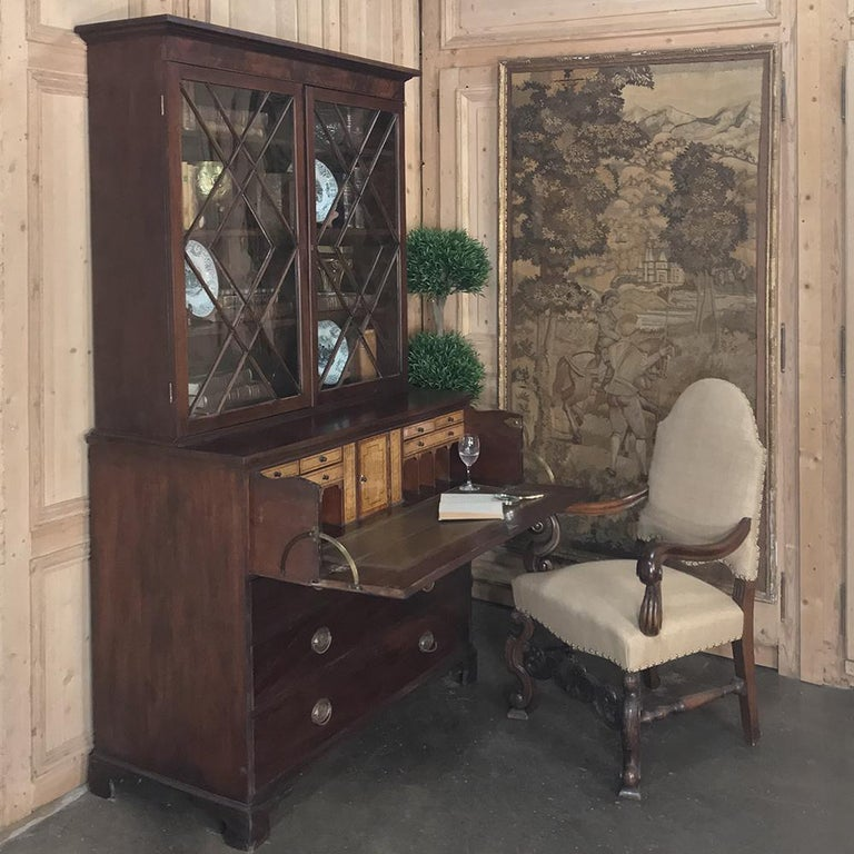 Edwardian Secretary, Bookcase, 19th Century Antique English in Mahogany For Sale