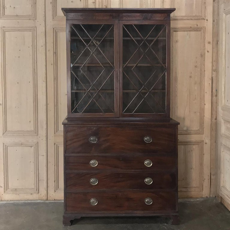 Hand-Crafted Secretary, Bookcase, 19th Century Antique English in Mahogany For Sale