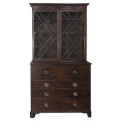 Secretary, Bookcase, 19th Century Antique English in Mahogany