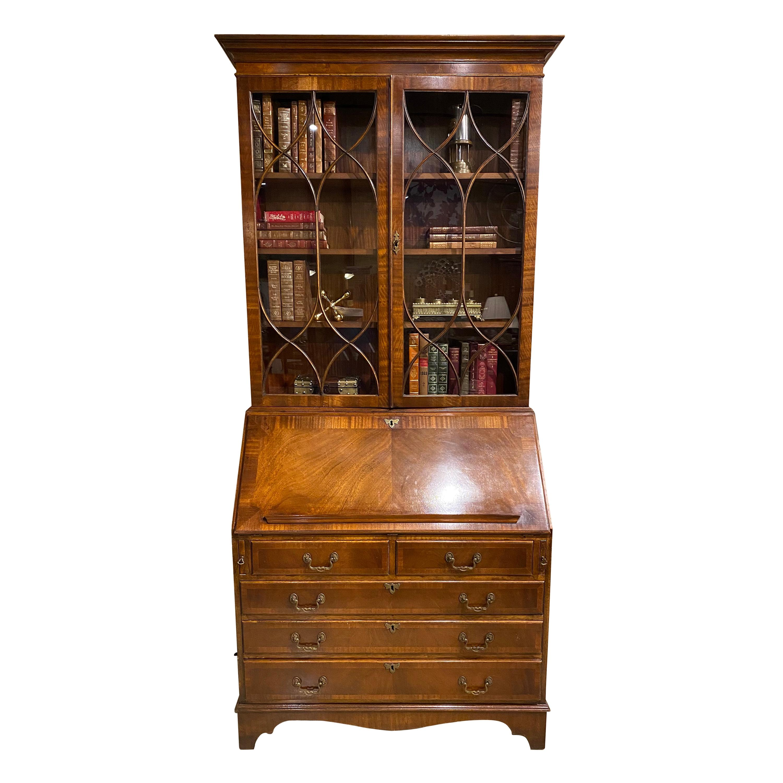 Secretary Desk Mahogany, English, Bookcase Top, Hand Glazed Doors, with Drawers