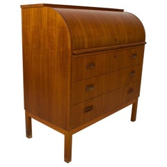 Secretary Roll Top DESK Delightful Danish Modern in Teak Wood, 1960s