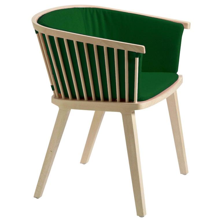 Secreto Armchair in Beechwood Emerald Green Velvet Upholstery, Made in Italy For Sale
