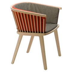 Secreto Armchair in Beechwood, Orange and Grey Upholstered Cushion Made in Italy