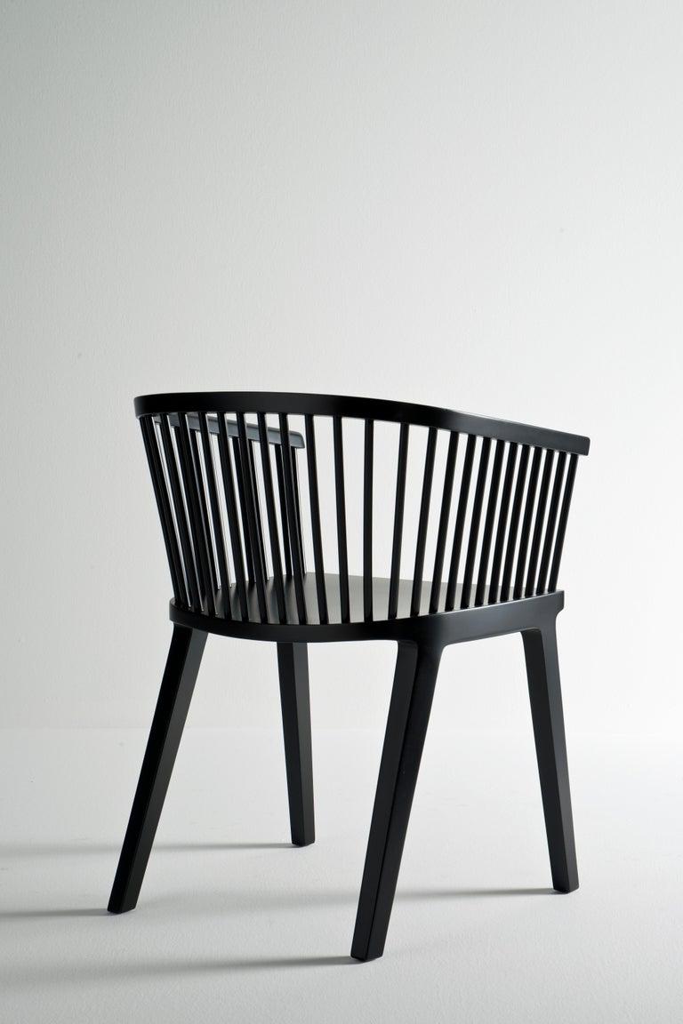 Secreto Armchair in Beechwood, Purple Velvet Cushion, Made in Italy For Sale 3