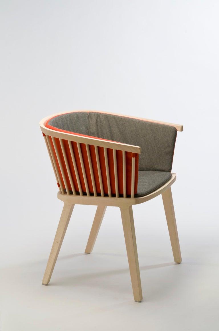 Secreto Armchair in Beechwood, Purple Velvet Cushion, Made in Italy For Sale 4
