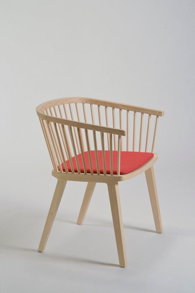 Secreto Armchair in Beechwood, Purple Velvet Cushion, Made in Italy For Sale 5