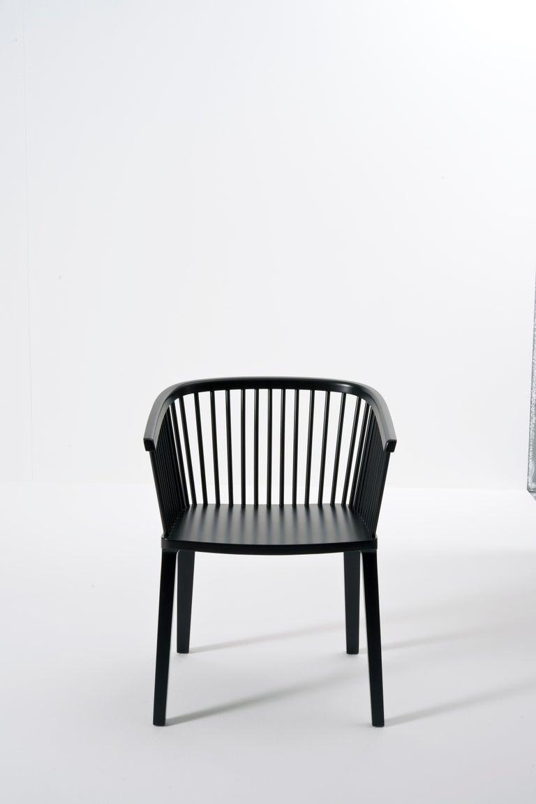 Secreto Armchair in Beechwood, Purple Velvet Cushion, Made in Italy For Sale 6