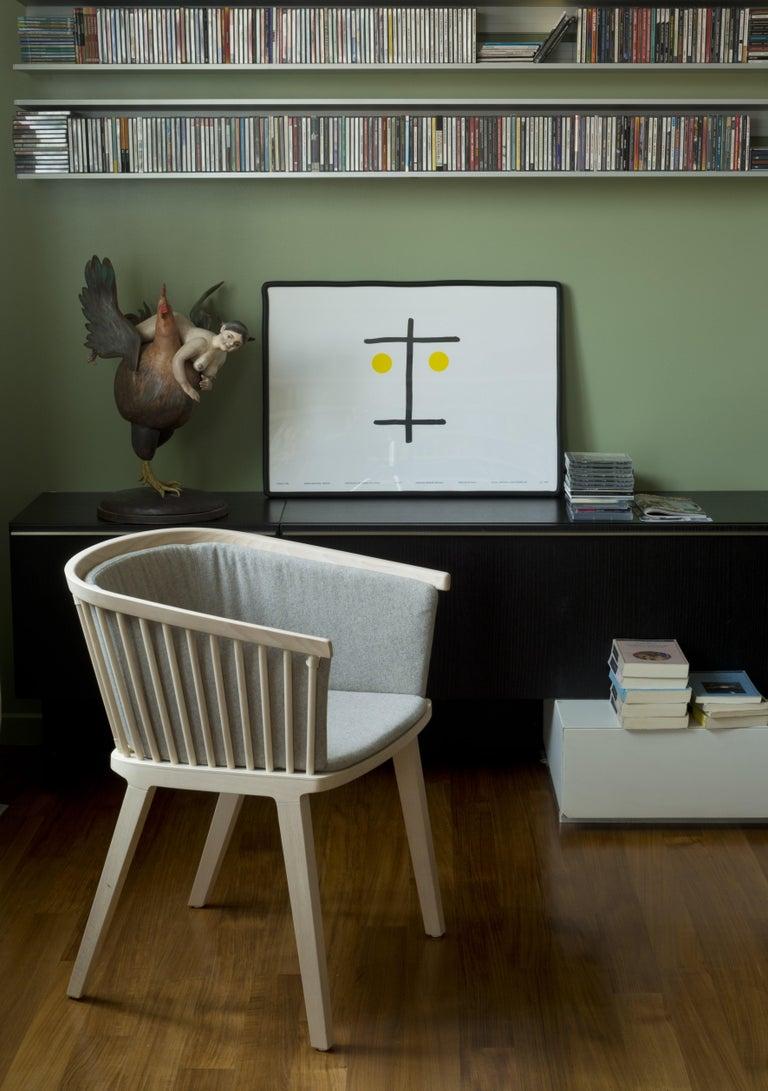 Secreto Armchair in Beechwood, Purple Velvet Cushion, Made in Italy For Sale 8