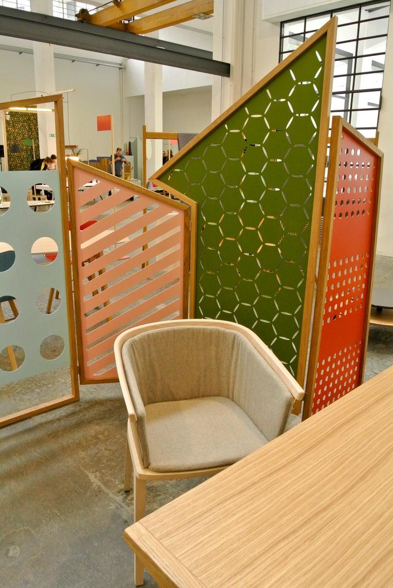 Secreto Armchair in Beechwood, Purple Velvet Cushion, Made in Italy For Sale 9