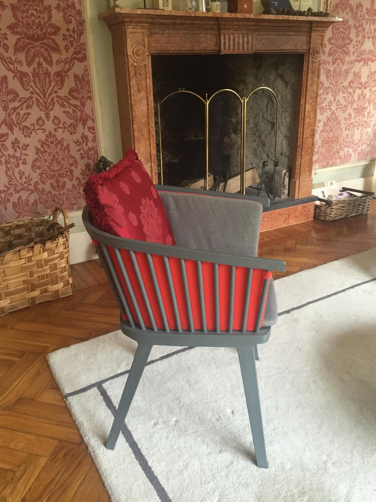 Secreto Armchair in Beechwood, Purple Velvet Cushion, Made in Italy For Sale 11